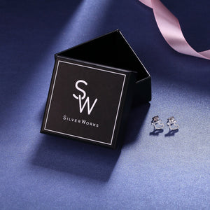 Makayla Silver Heart Stud Earrings with Baguette Ribbon Design Box Packaging