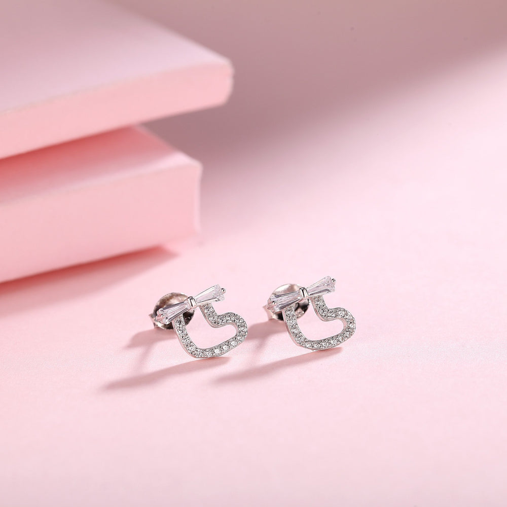 Makayla Silver Heart Stud Earrings with Baguette Ribbon Design 2