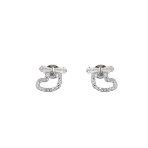 Makayla Silver Heart Stud Earrings with Baguette Ribbon Design