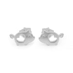 Melani Pig with Cut-Out Heart Silver Stud Earrings