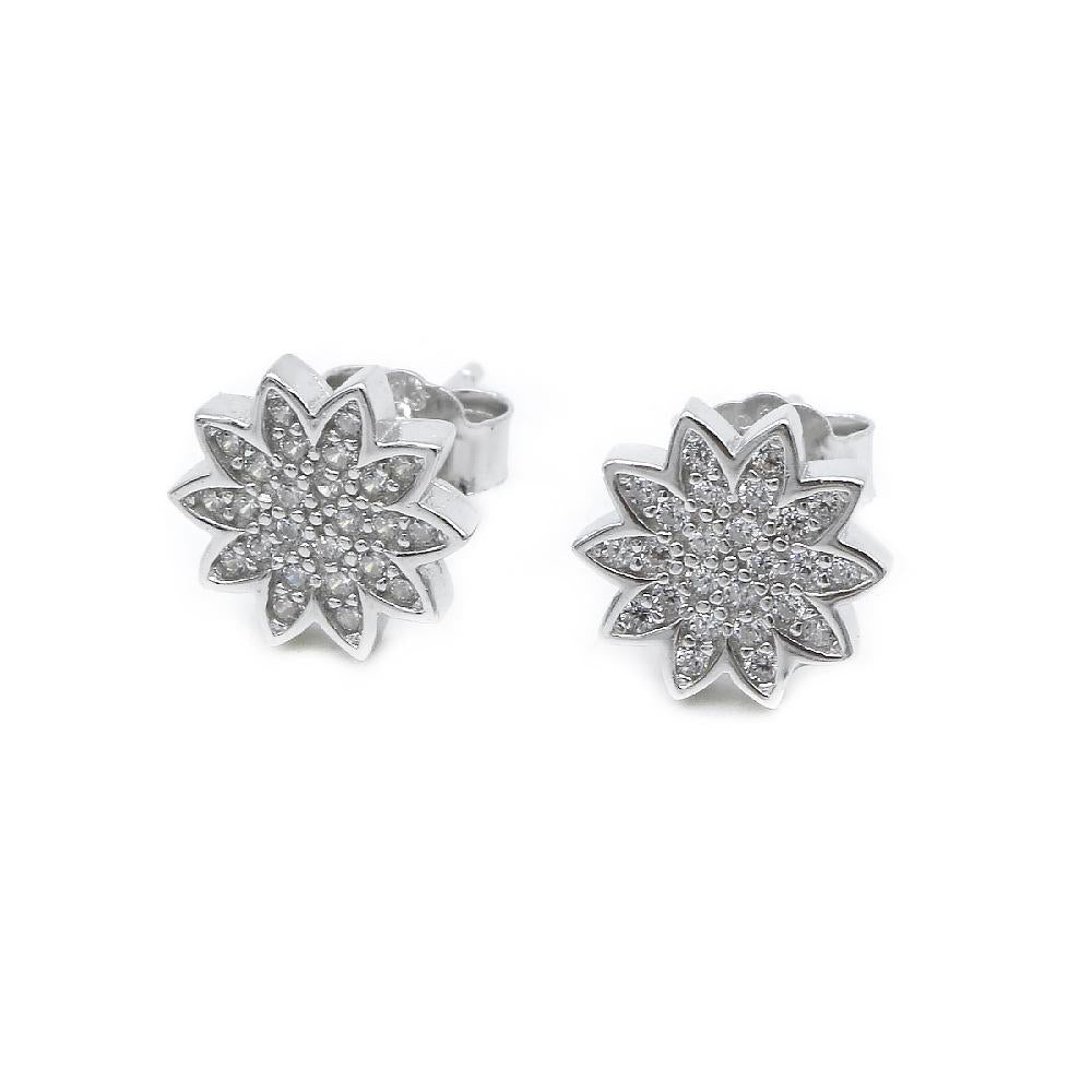 Myrtia Silver Flower Design Stud Earrings