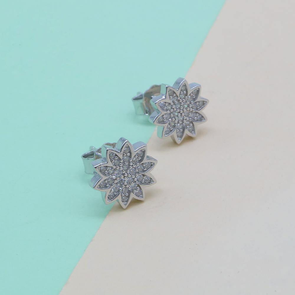 Myrtia Silver Flower Design Stud Earrings 2