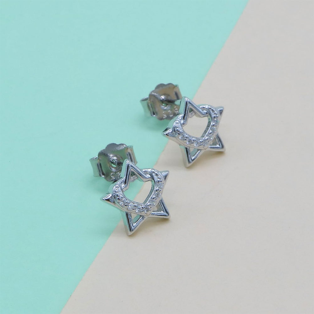 Marybeth Star with Small Open Heart Design Silver Stud Earrings
