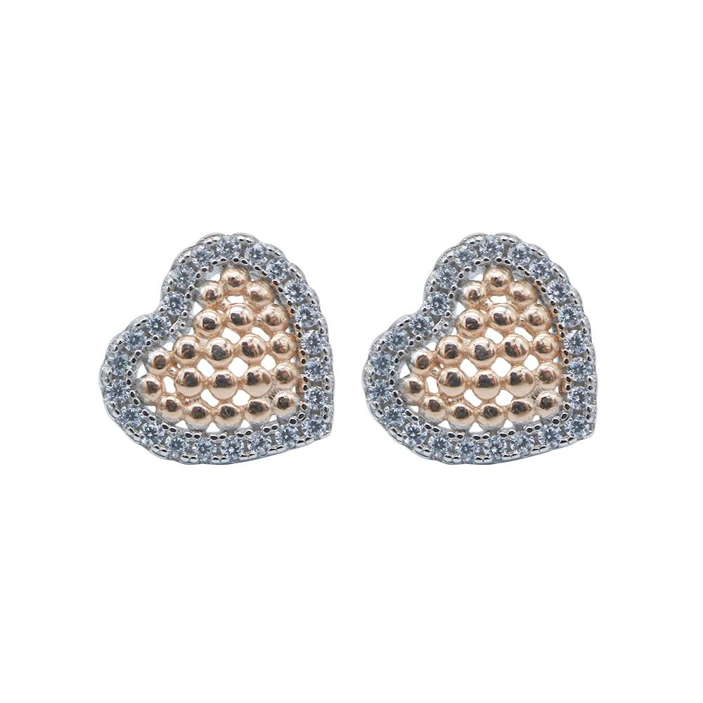 Molley Framed Rosegold Heart Silver Earrings