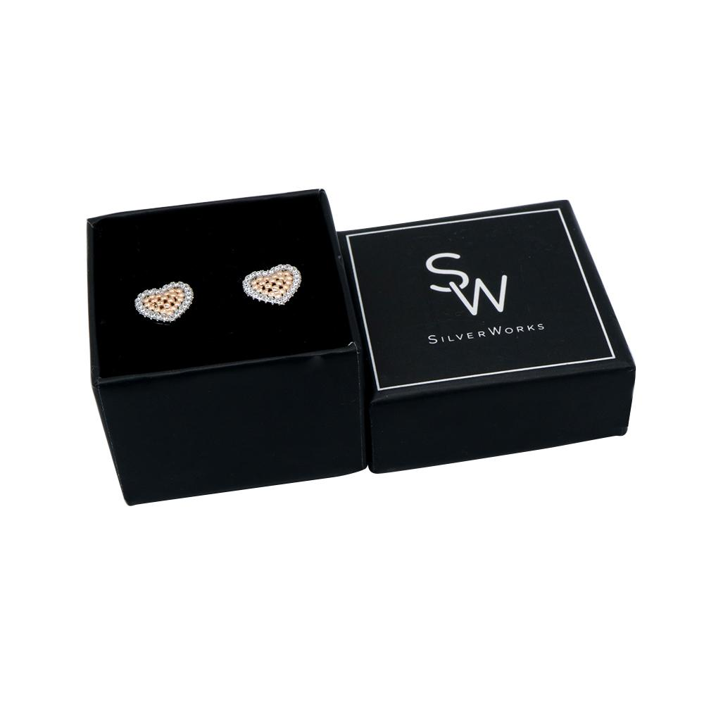 Load image into Gallery viewer, Molley Framed Rosegold Heart Silver Earrings