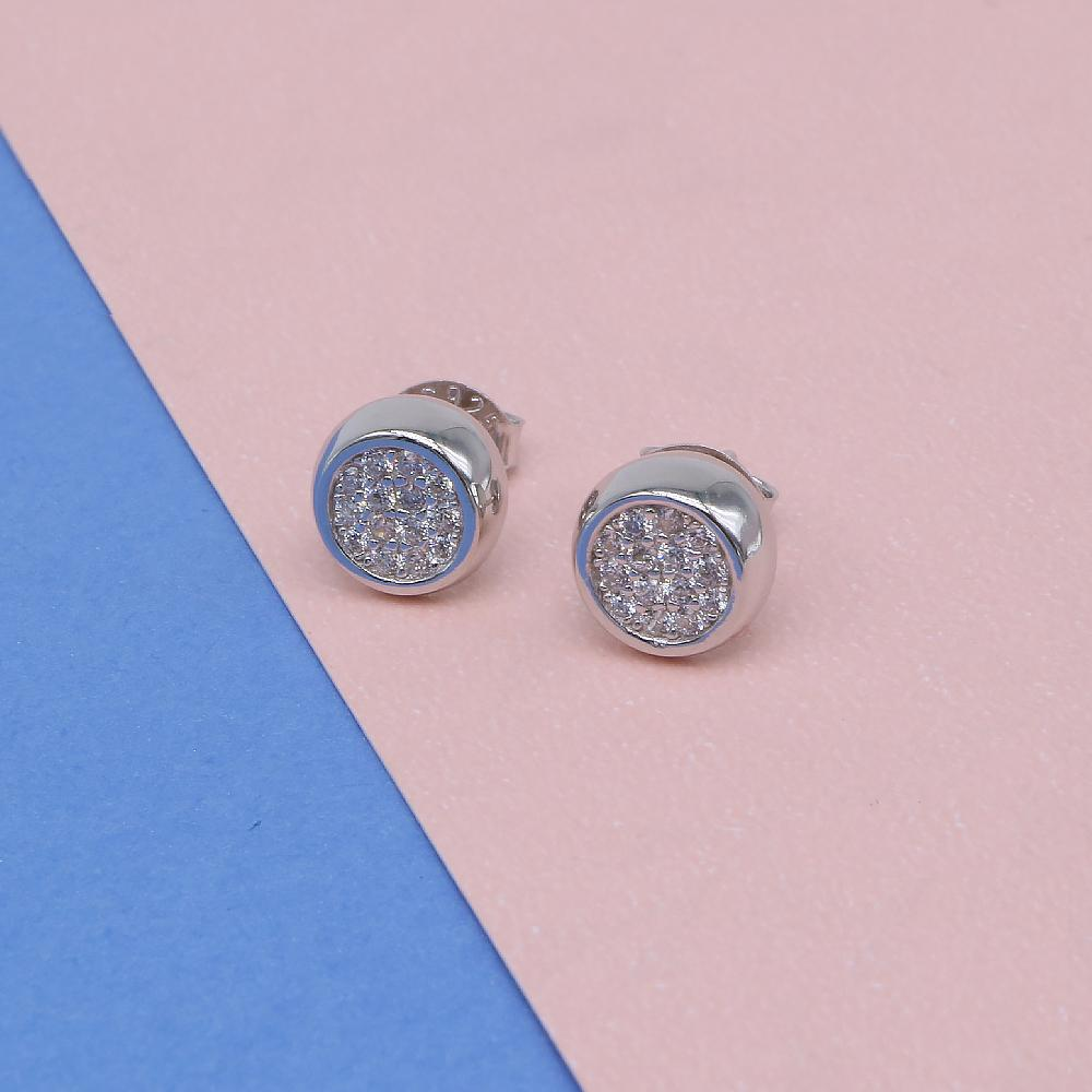 Nealie Circle Silver Bezel Earrings with Zirconia Stones