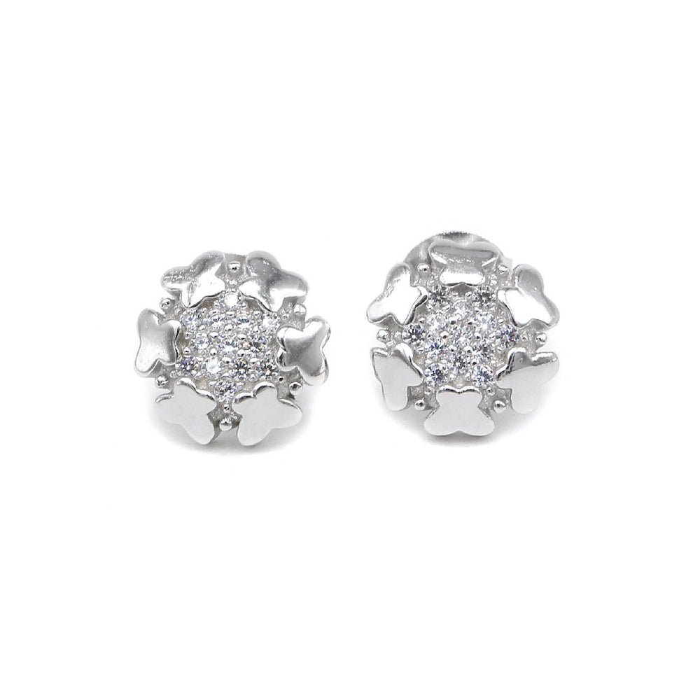 Load image into Gallery viewer, Midge Flower Shaped Silver Stud Earrings