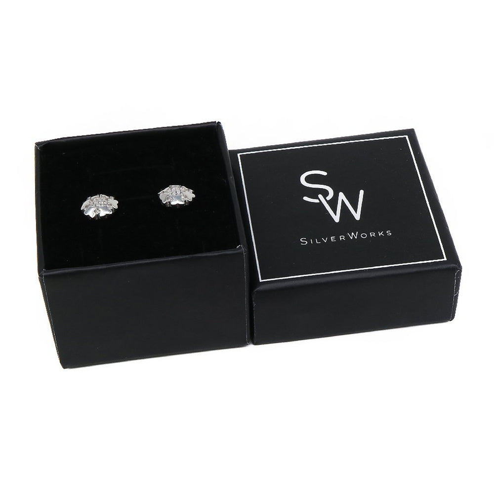 Midge Flower Shaped Silver Stud Earrings