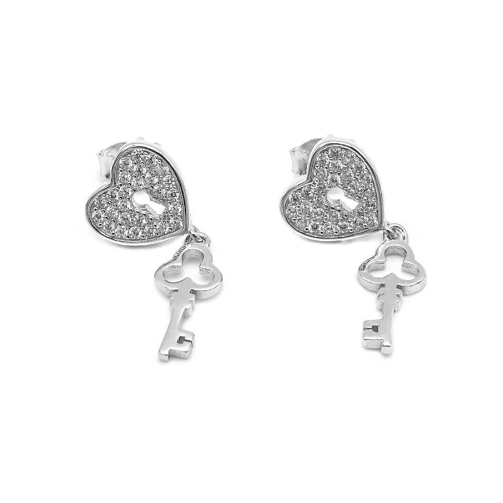 Marin Heart Lock Design with Key MALAY Silver Dangling Earrings with Cubic Zirconia