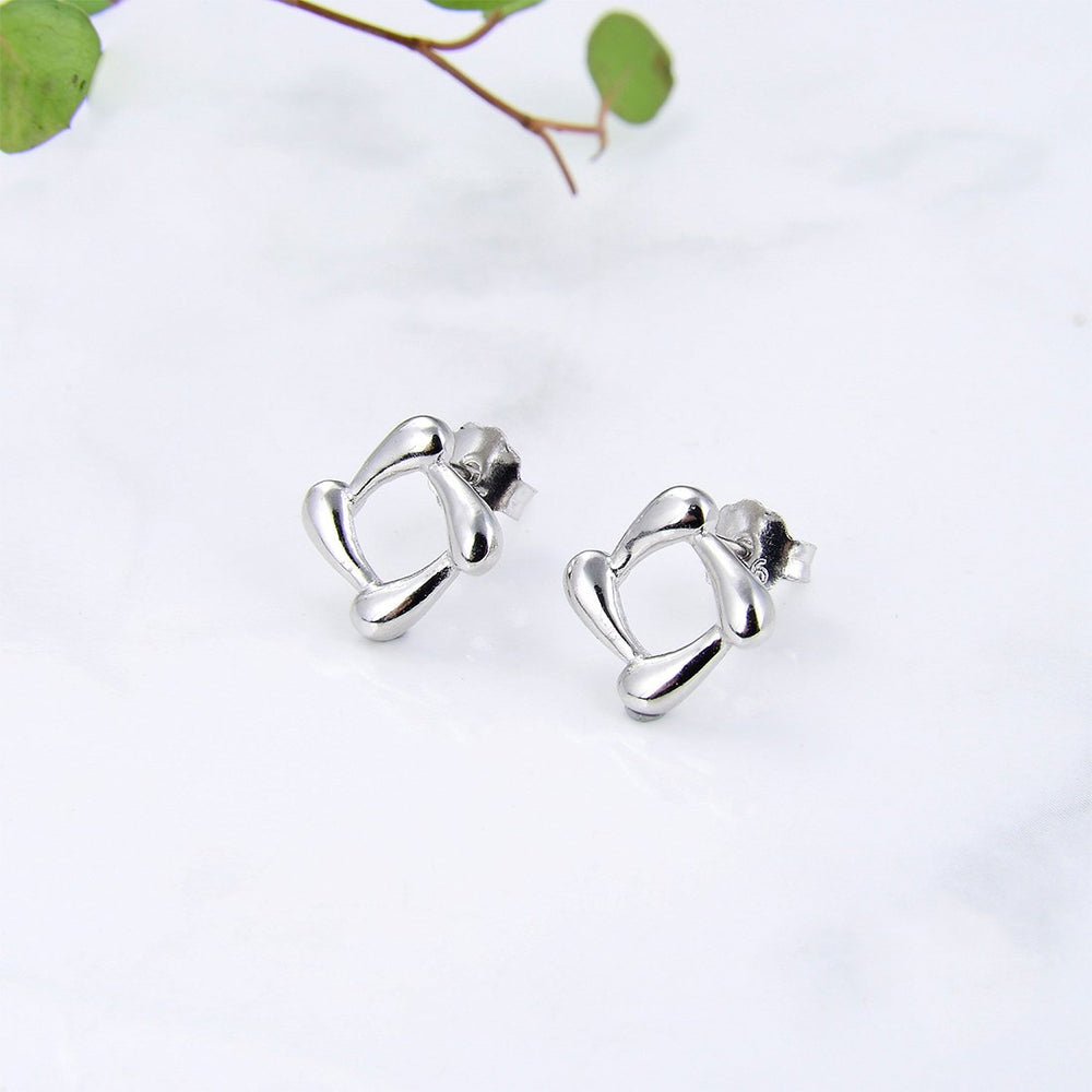 Marguita Cut Out Square Silver Stud Earrings
