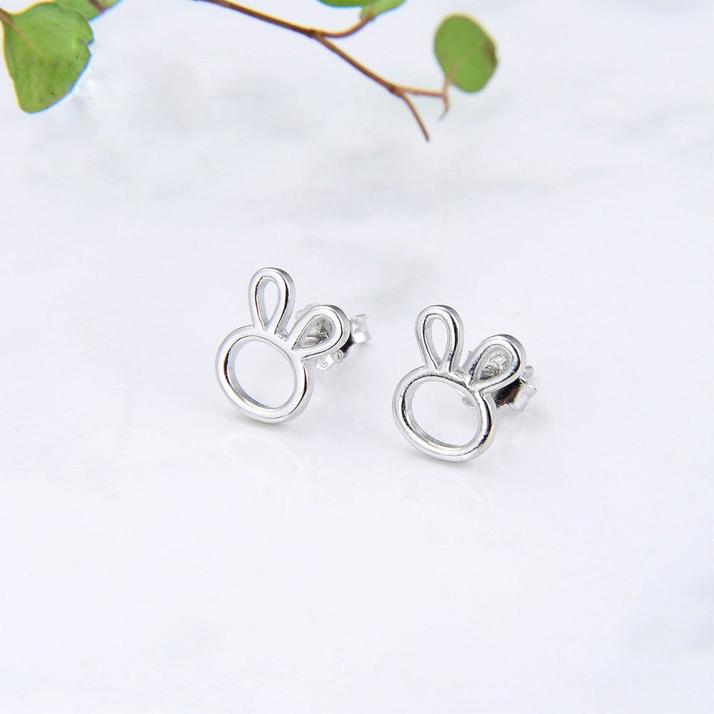 Mirah Cut Out Bunny Silver Stud Earrings