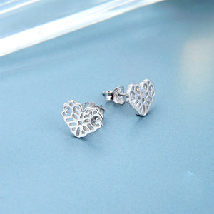 Marge Fancy Cut Heart Silver Stud Earrings
