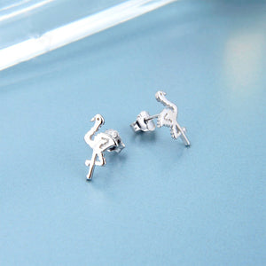 Load image into Gallery viewer, Maggi Pixelated Flamingo Silver Stud Earring