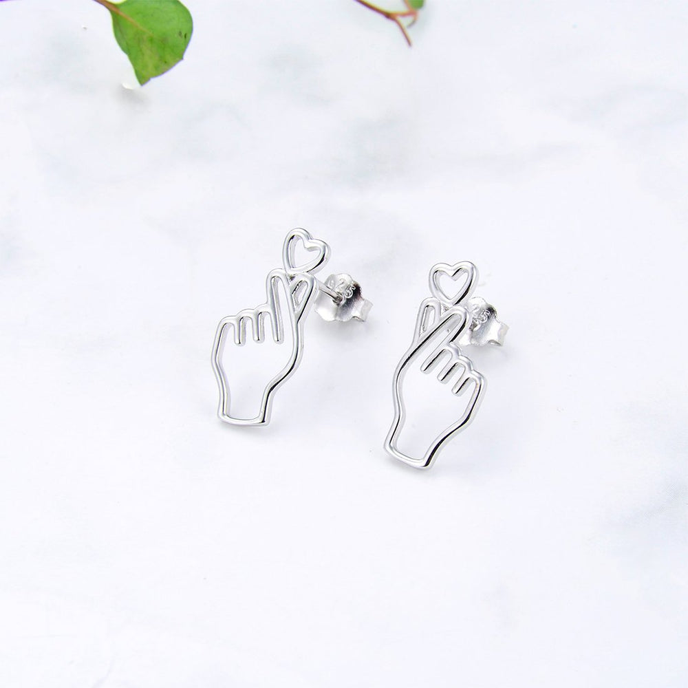 Melida Finger Heart Sign Silver Stud Earrings