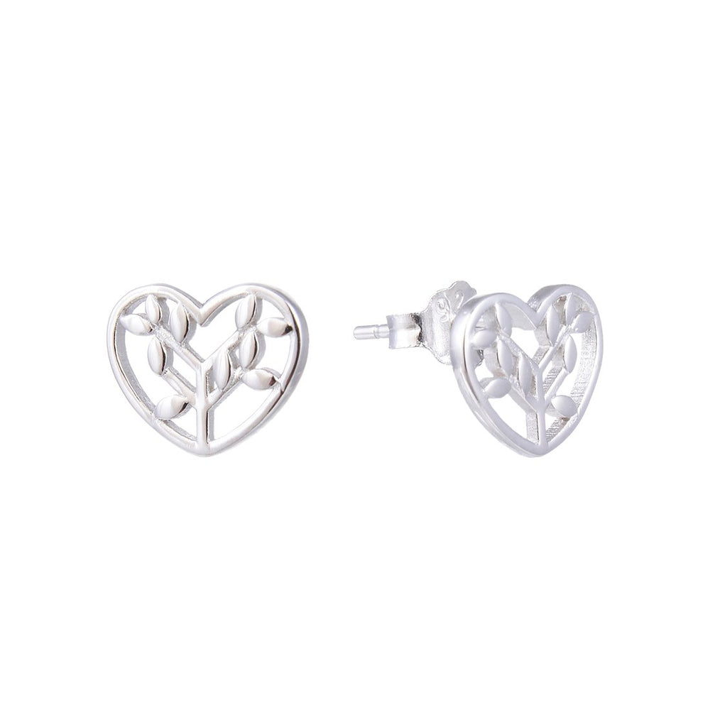 Mikelle Leaf in Cut Out Heart Silver Stud Earrings