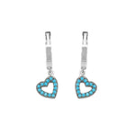 Marlo Silver Open Heart Turquoise Dangling Earrings