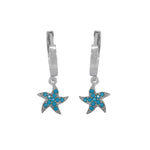 Marigol Star Turquoise Silver Dangling Earrings