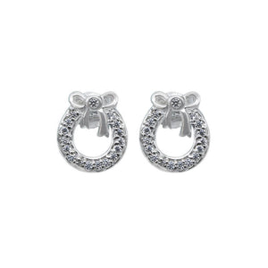 Mayra Christmas Wreath Silver Stud Earrings