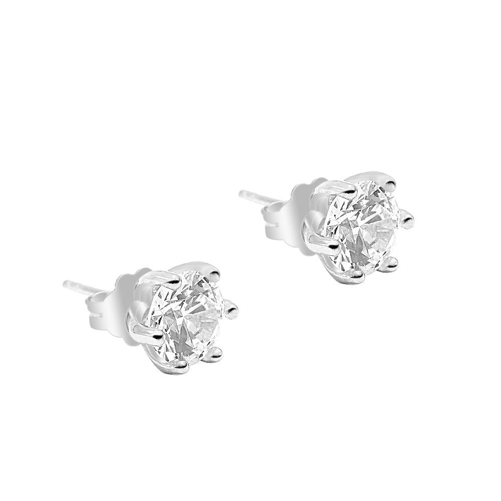 Nika Round Prong Silver Stud Earrings with Cubic Zirconia 2