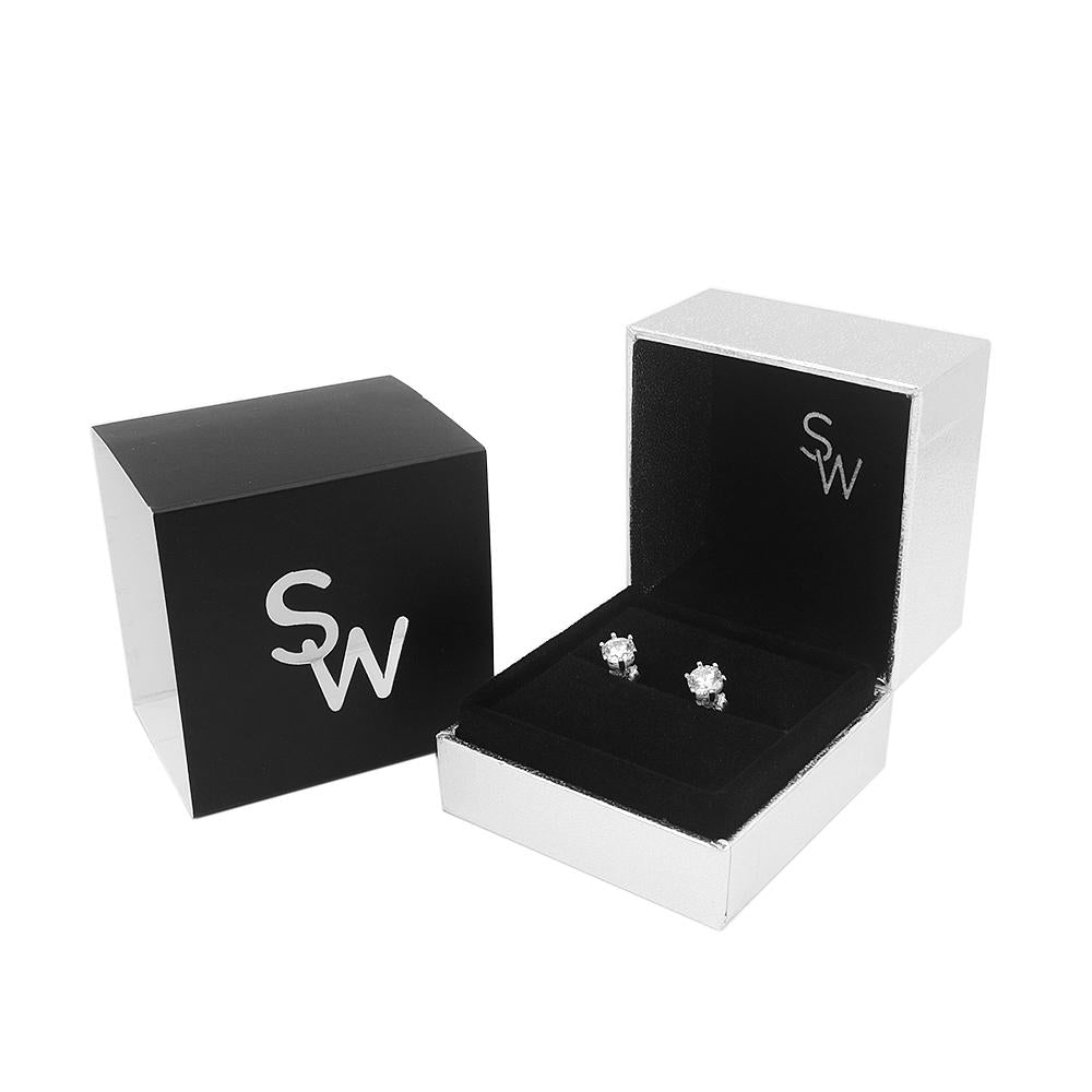 Nika Round Prong Silver Stud Earrings with Cubic Zirconia Box Packaging