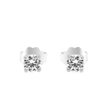 Miran 4mm Round Prong Silver Stud Earrings with Swarovski® Zirconia