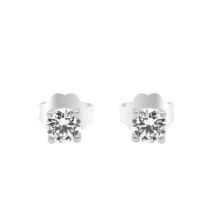 Heidi 4mm Round Prong Silver Stud Earrings with Swarovski® Zirconia