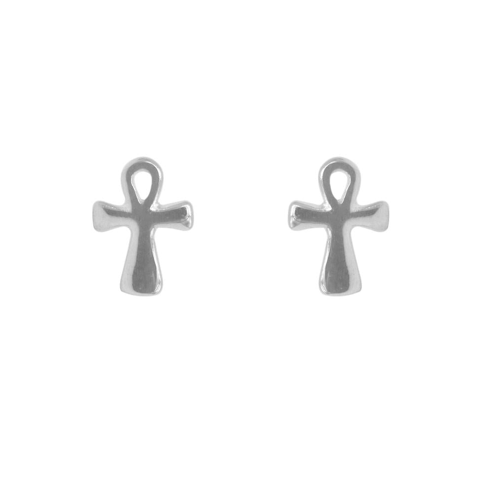 Nami Silver Cross Stud Earrings