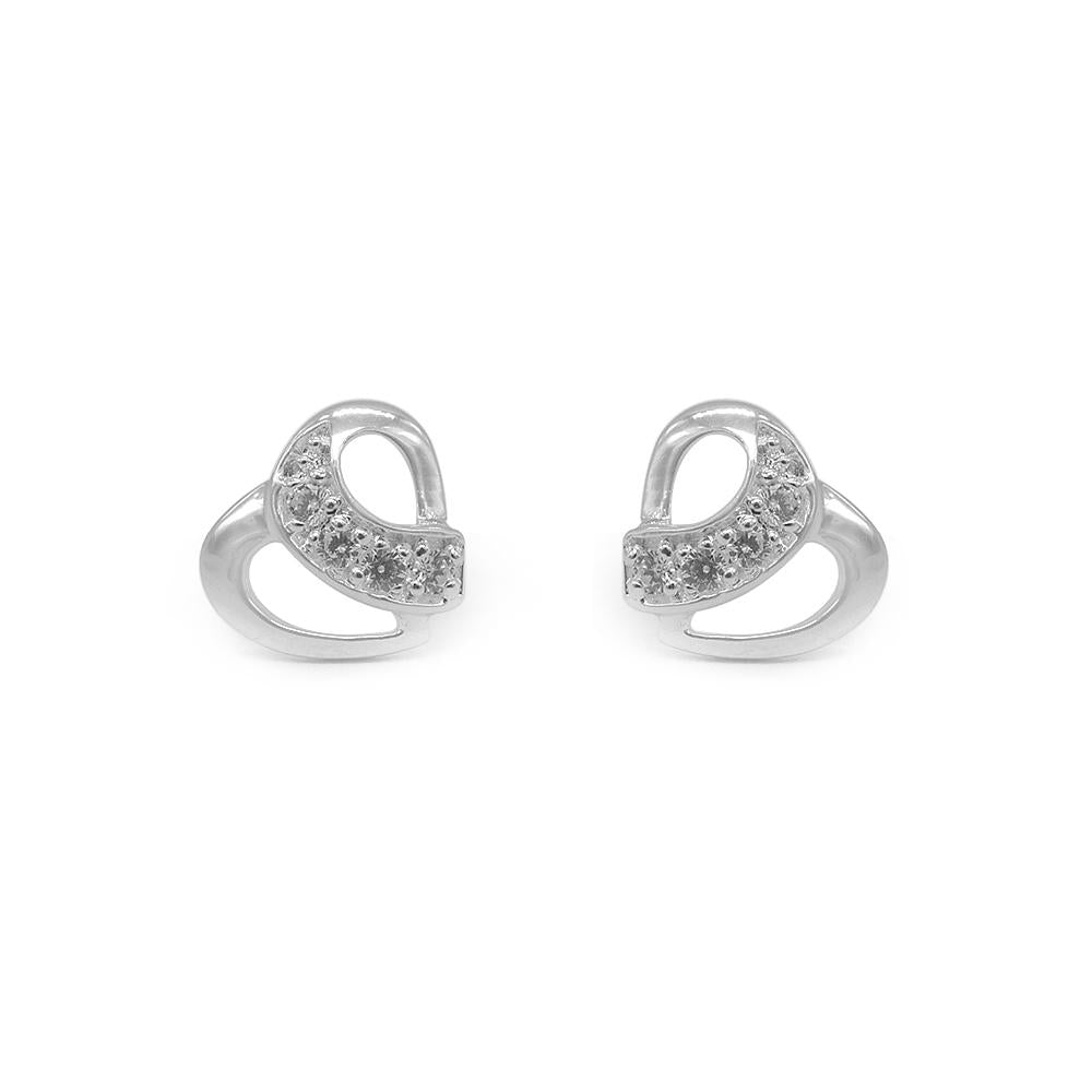 Nerissa Heart Silver Stud Earrings with Cubic Zirconia