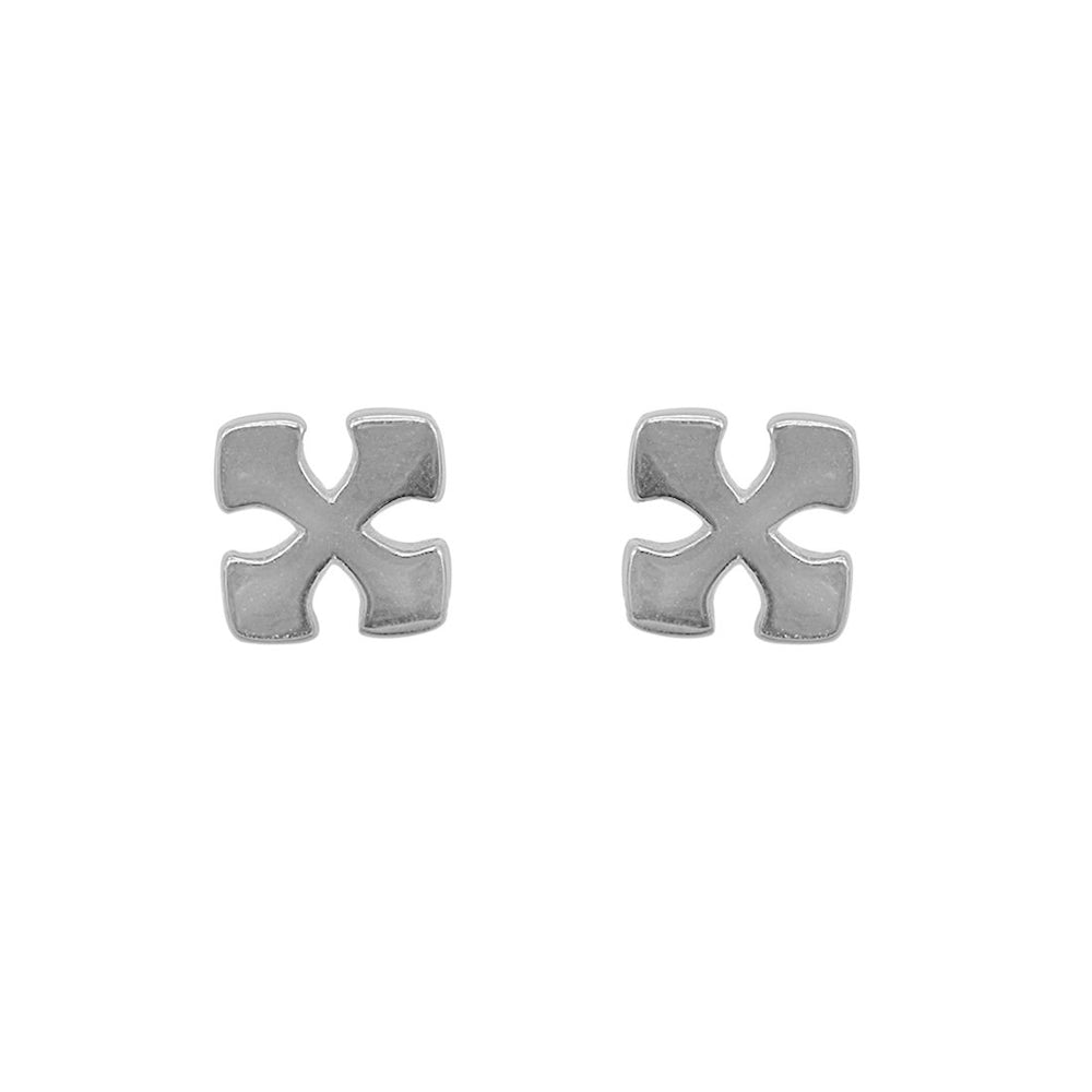 Load image into Gallery viewer, Nori Dainty Polished Cross Silver Stud Earrings