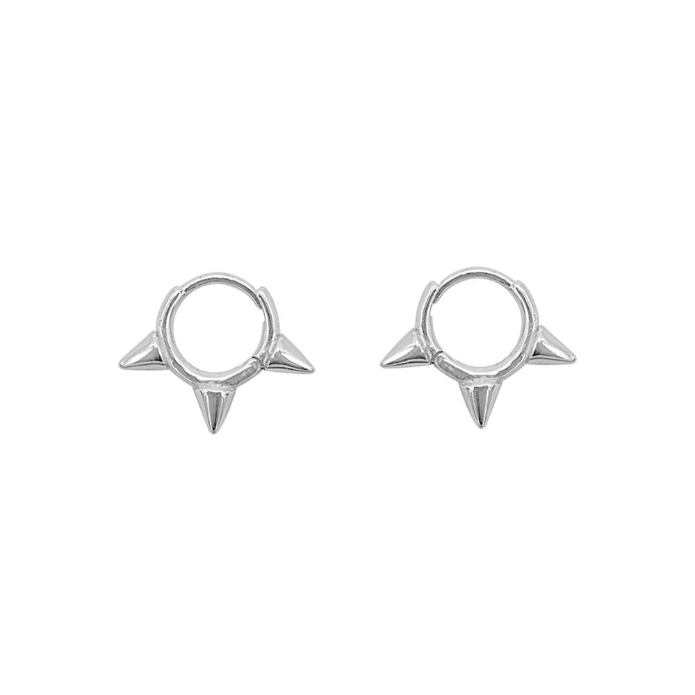 Nyla 3-Spike Huggie Silver Earrings