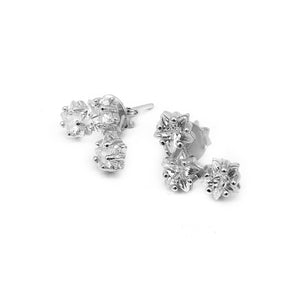 Niobe Stars Silver Ear Crawler Earrings with Zirconia Stones