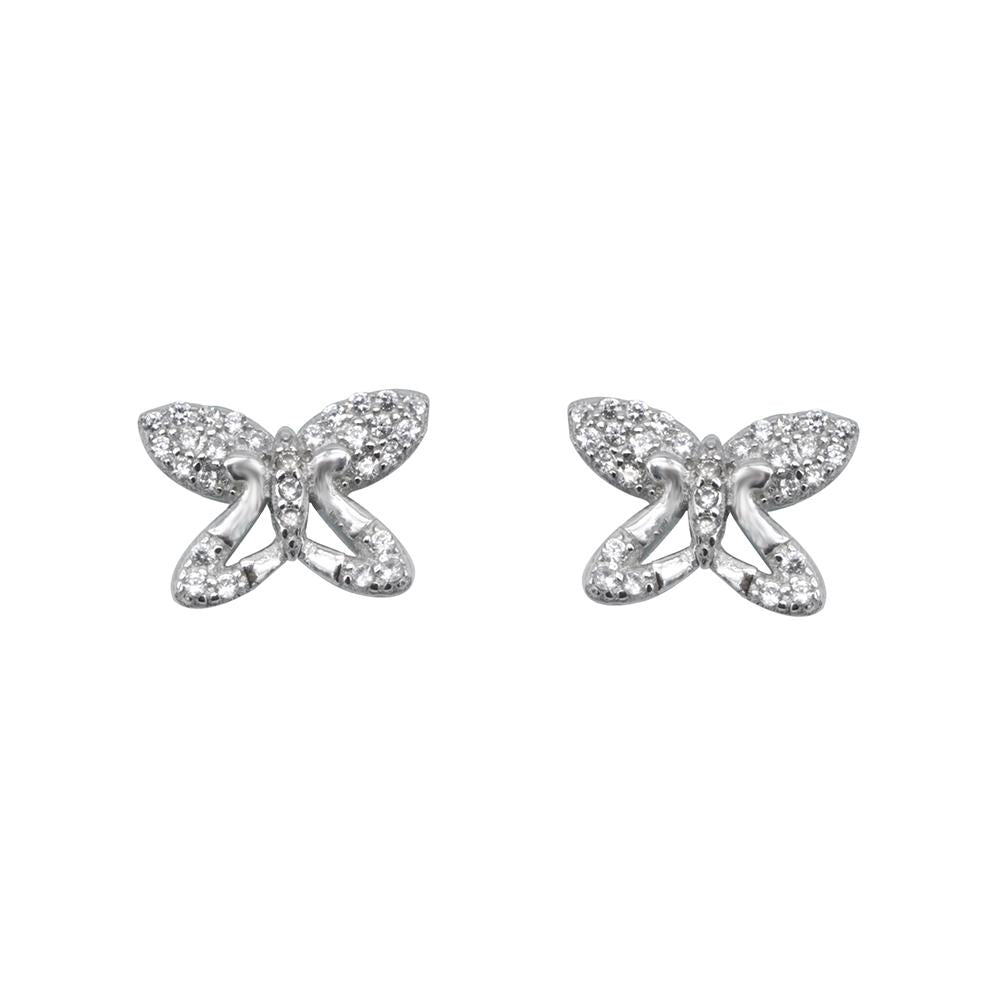Nevada Butterfly Silver Stud Earrings with Cubic Zirconia