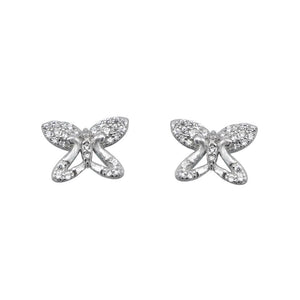 Nevada Butterfly Silver Stud Earrings Women with Cubic Zirconia