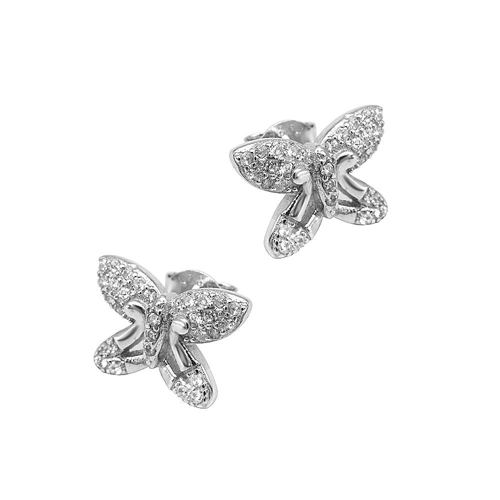 Load image into Gallery viewer, Nevada Butterfly Silver Stud Earrings Women with Cubic Zirconia 2