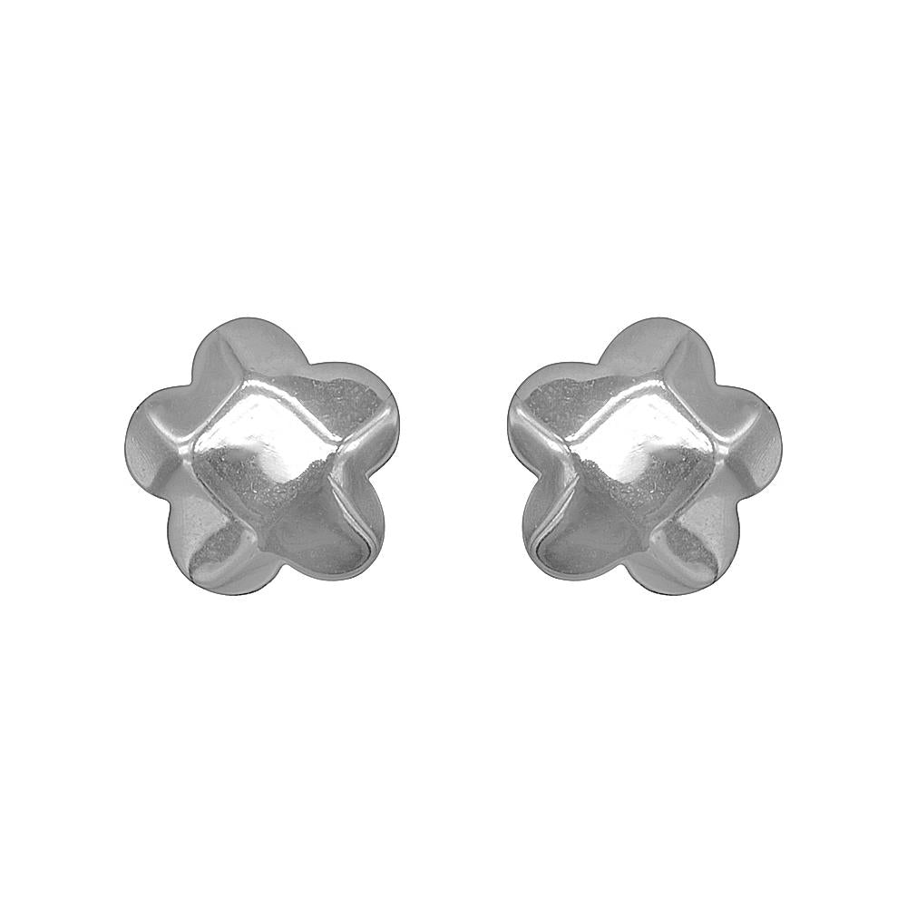 Narcissa Silver Hammered Flower Stud Earrings with Cubic Zirconia