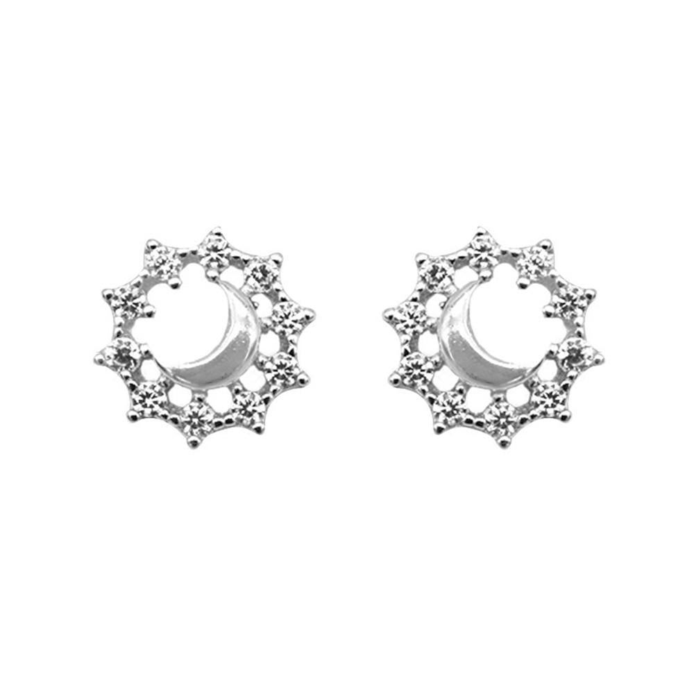 Neci Polished Crescent Moon Design Silver Stud Earrings with Cubic Zirconia