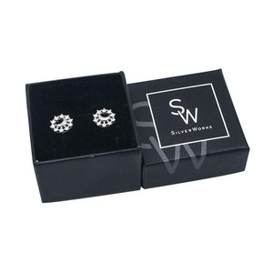 Neci Polished Crescent Moon Design Silver Stud Earrings in Packaging