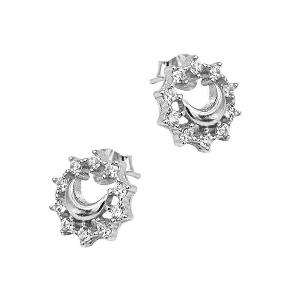 Neci Polished Crescent Moon Design Silver Stud Earrings 2