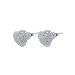 Noura Pave Heart Silver Stud Earrings with Zirconia Stones