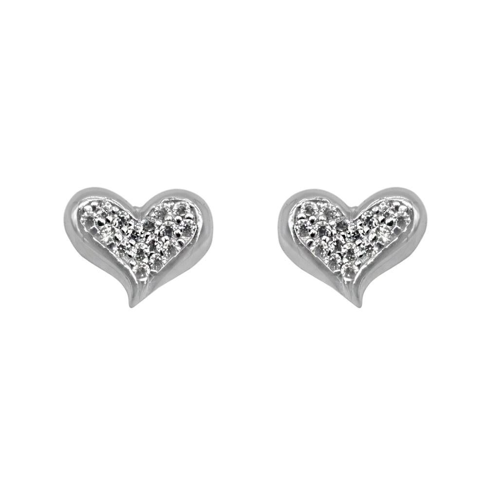 Nuria Slanted Pave Heart Silver Stud Earrings for Women