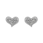 Nuria Slanted Pave Heart Silver Stud Earrings Women