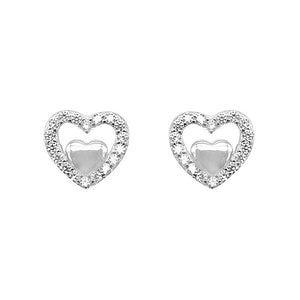 Novalee Heart Silver Stud Earrings with Cubic Zirconia