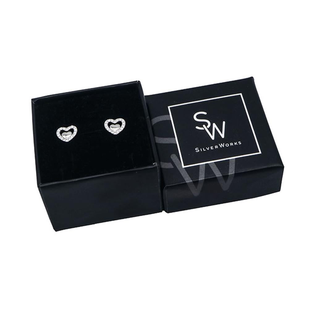 Novalee Heart Silver Stud Earrings with Cubic Zirconia Box Packaging