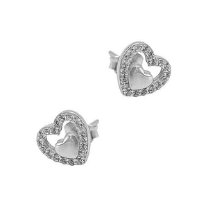Load image into Gallery viewer, Novalee Heart Silver Stud Earrings with Cubic Zirconia 2