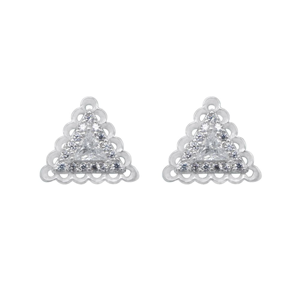 Nenia Triangle Silver Stud Earrings with Cubic Zirconia