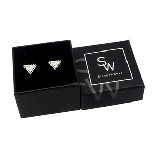 Nenia Triangle Silver Stud Earrings with Cubic Zirconia Box Packaging