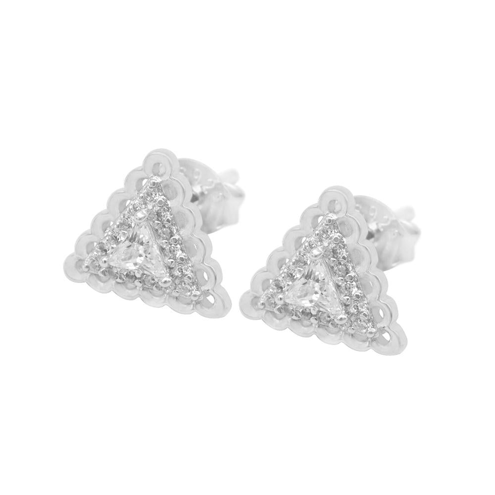 Nenia Triangle Silver Stud Earrings with Cubic Zirconia 2