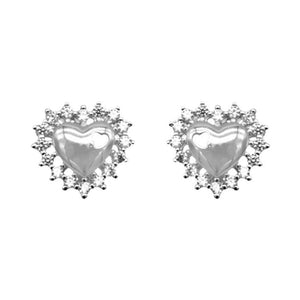 Noralie Heart Silver Stud Earrings Women with Cubic Zirconia