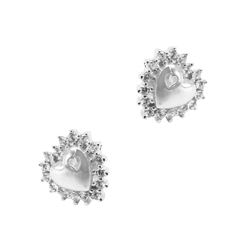 Noralie Heart Silver Stud Earrings Women with Cubic Zirconia 2