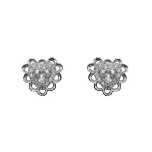 Niccele Heart Silver Stud Earrings with Cubic Zirconia